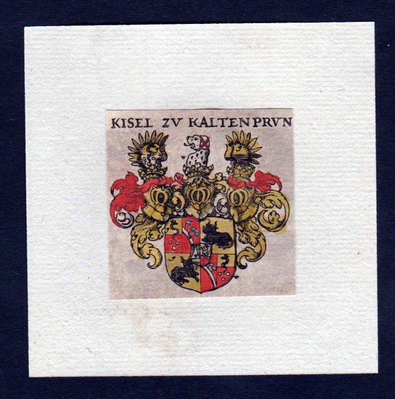 17. Jh Kiesel von Kaltenbrunn Wappen Adel coat of arms heraldry Heraldik Kupferstich