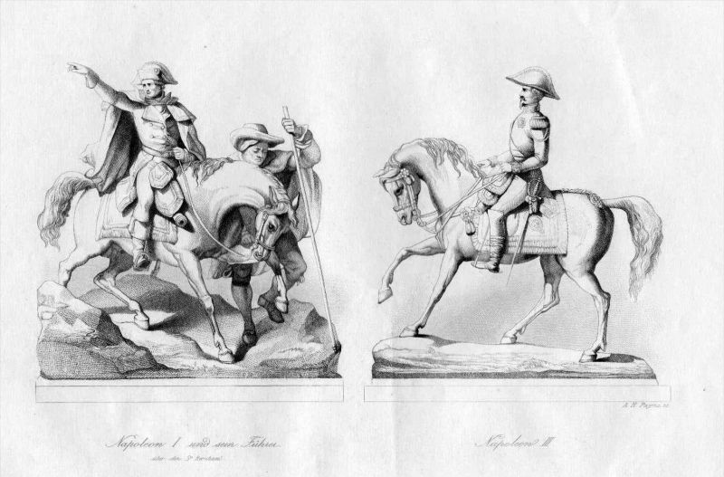 Napoleon I Napoleon III zu Pferd Statue Statuen Original Stahlstich