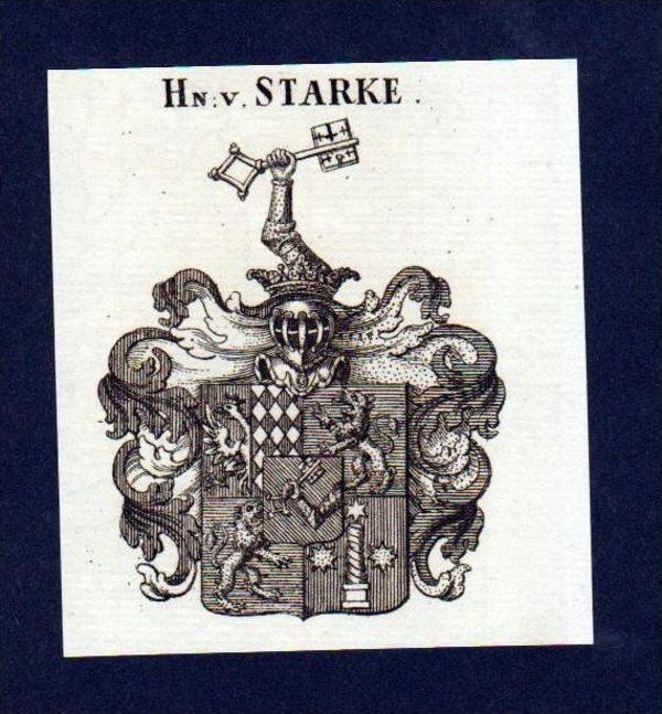 Herren von Starke Original Kupferstich Wappen engraving Heraldik crest