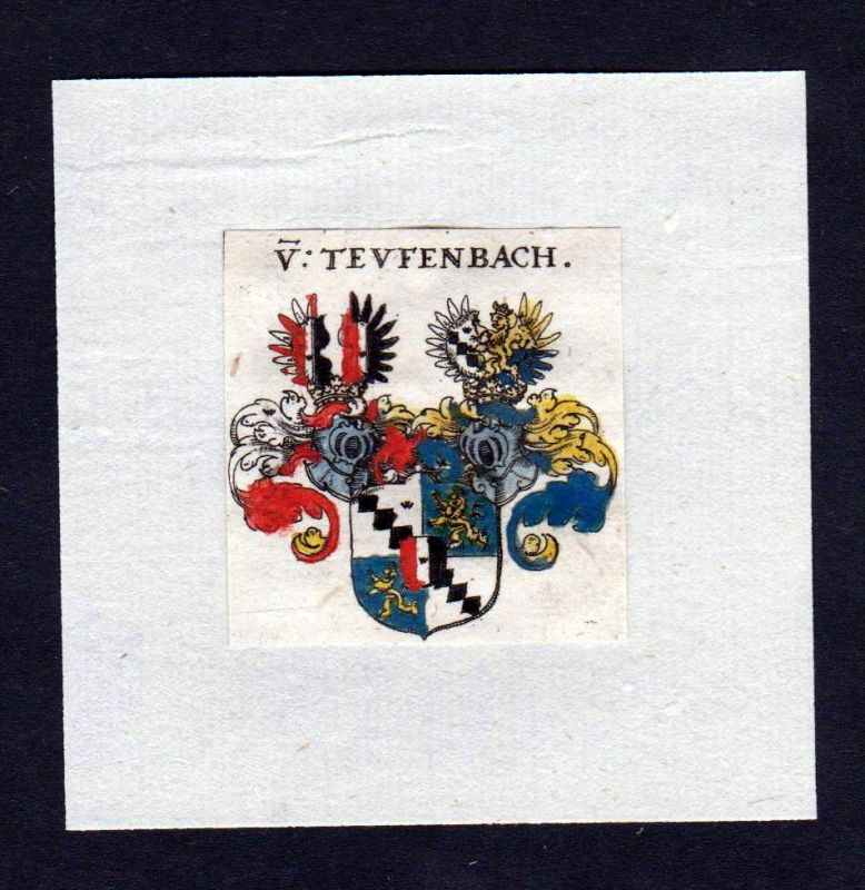 17. Jh von Teuffenbach Wappen Adel coat of arms heraldry Heraldik Kupferstich