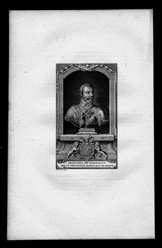 Francois de Scepeaux Comte Staatsmann Frankreich Kupferstich Portrait