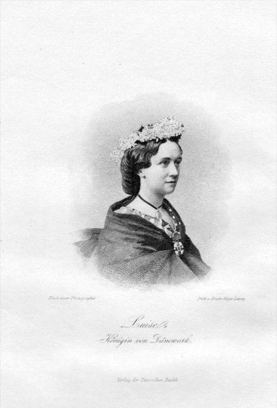 Louise von Schweden-Norwegen Königin von Dänemark Stahlstich Portrait