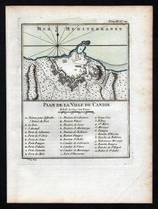 Iraklio Candia Crete Greece Kreta Bellin Karte map carte Kupferstich