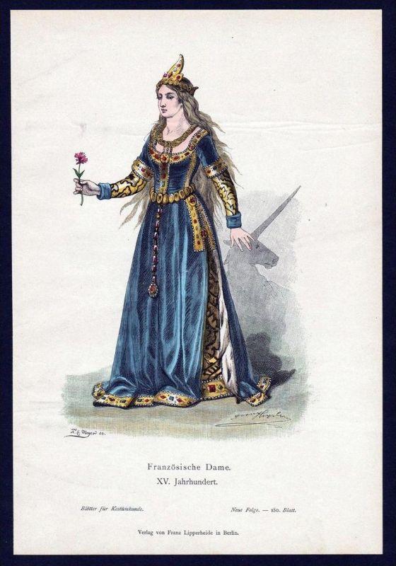 Frankreich Dame 15. Jahrhundert Trachten Tracht costume original Grafik