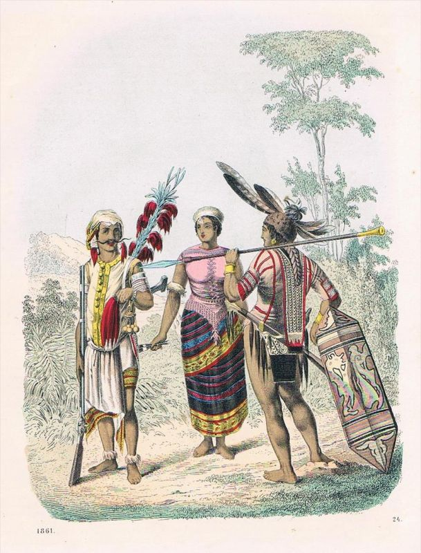 Borneo Tracht Trachten Kostüme Asien - Lithographie lithography