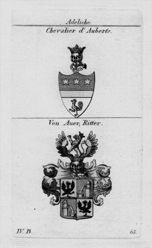 Chevalier Auer Wappen Adel coat of arms heraldry Heraldik Kupferstich