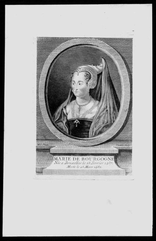Maria von Burgund Bourgogne Herzogin Belgien Kupferstich Portrait