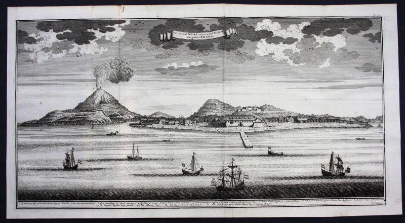 Neira island Banda islands Indonesia Asia map engraving Valentijn Panorama