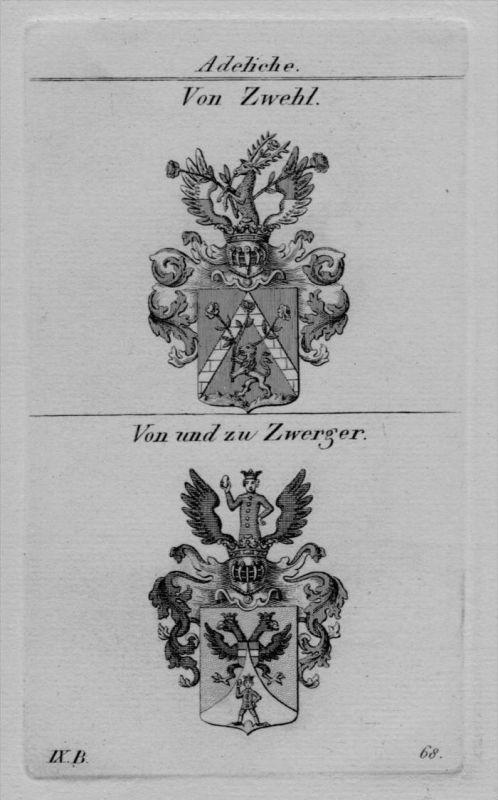 Zwehl Zwerger Wappen coat of arms heraldry Heraldik crest Kupferstich