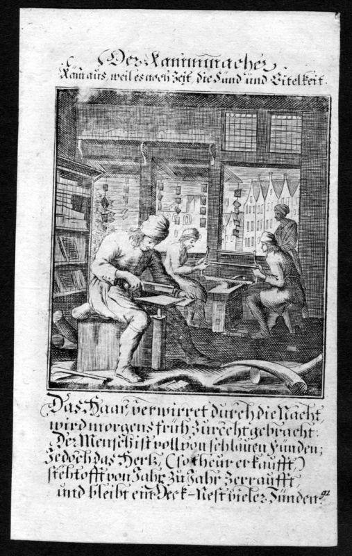 Kammmacher comb maker Kämme Beruf profession Weigel Kupferstich antique print