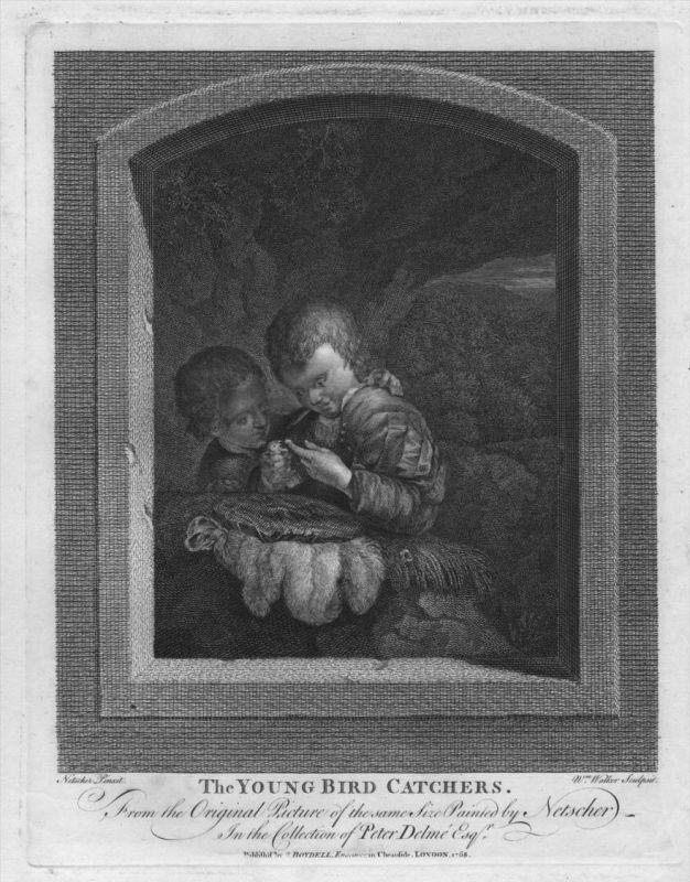 Caspar Netscher William Wacker Vogelfänger Vogel Radierung etching gravure