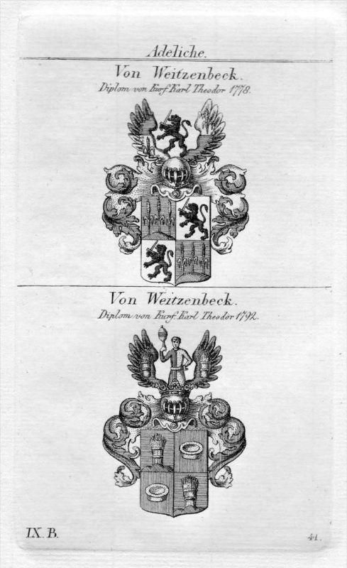 Weitzenbeck - Wappen Adel coat of arms heraldry Heraldik Kupferstich
