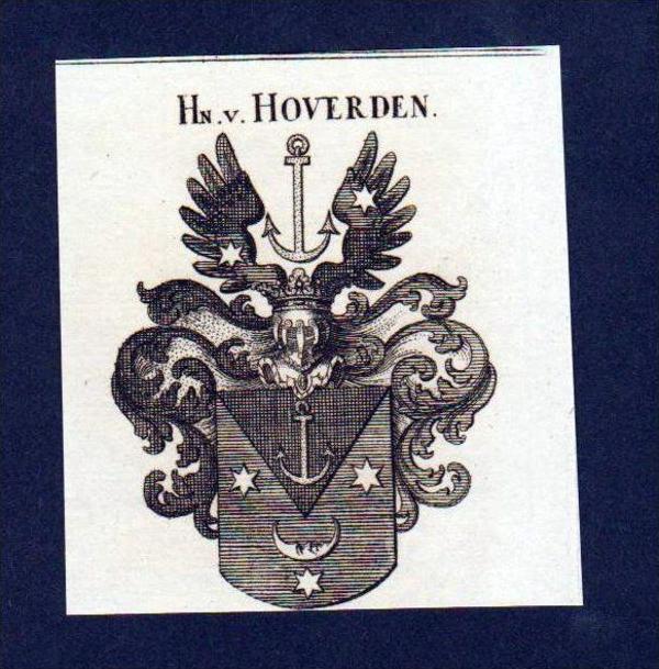 Herren von Hoverden Original Kupferstich Wappen engraving Heraldik crest