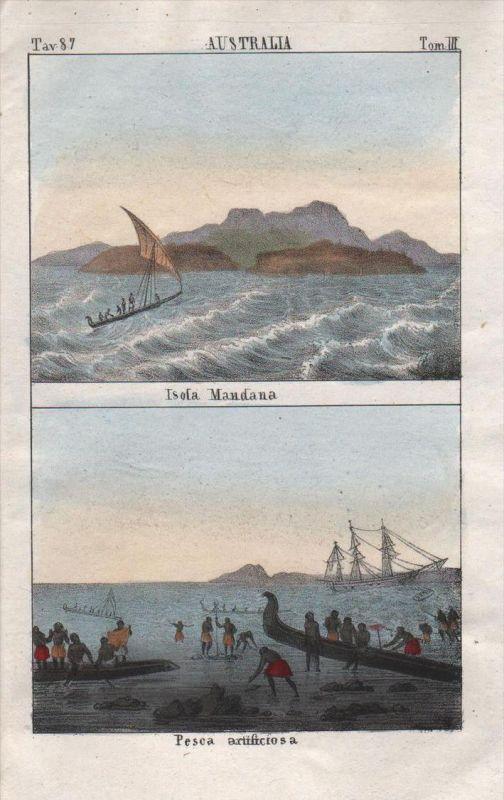 Marquesas Islands French Polynesia Oceania Lithograph antique natives