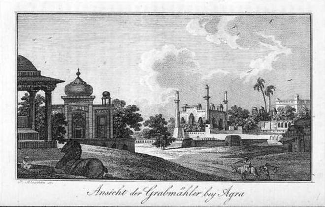 Agra Yamuna India Indien map Asia Original Kupferstich