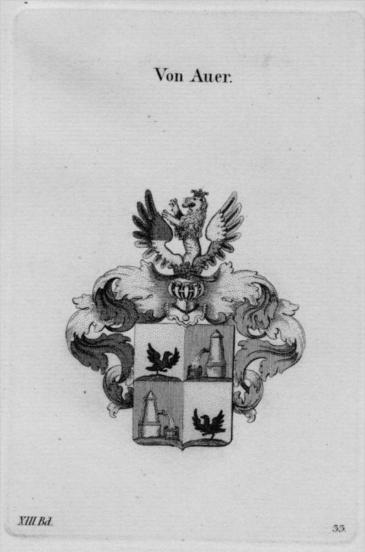 Auer Wappen Adel coat of arms heraldry Heraldik crest Kupferstich
