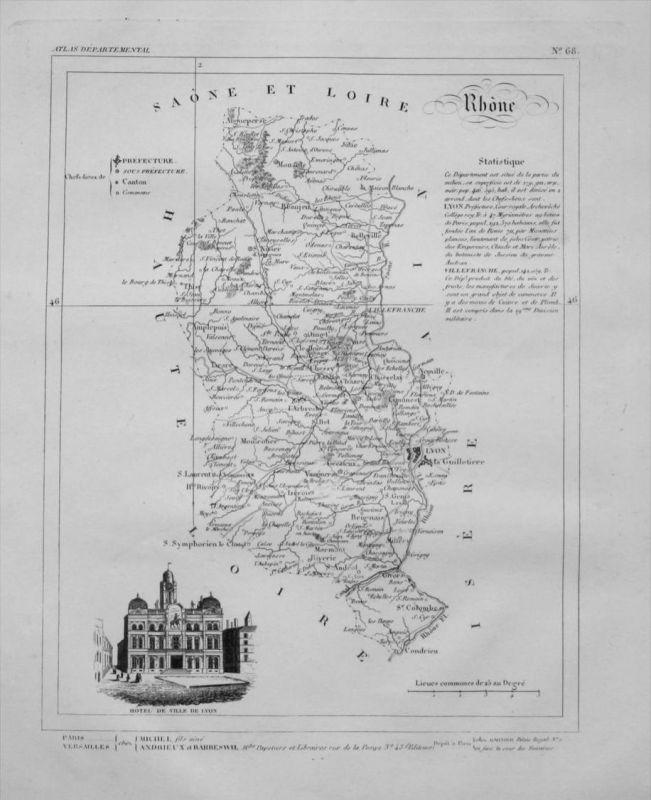 Departement Rhòne carte gravure Kupferstich Karte map France