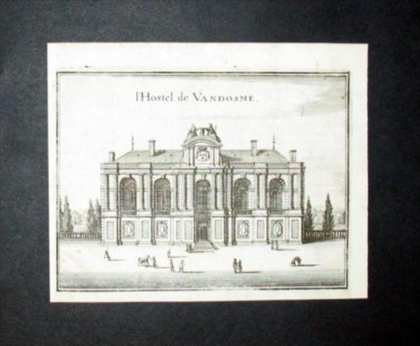 Paris Palais Vandosme Frankreich Kupferstich engraving gravure Merian