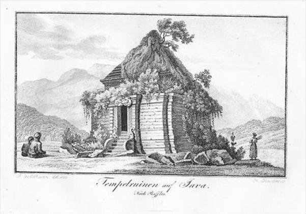 Java Temple Indonesia engraving Kupferstich