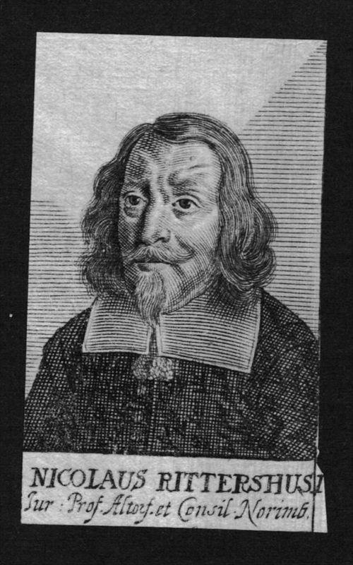 Nikolaus Rittershausen Jurist lawyer Altdorf Kupferstich Portrait