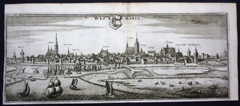 Wismar - Gesamtansicht / Panorama - Kupferstich Merian