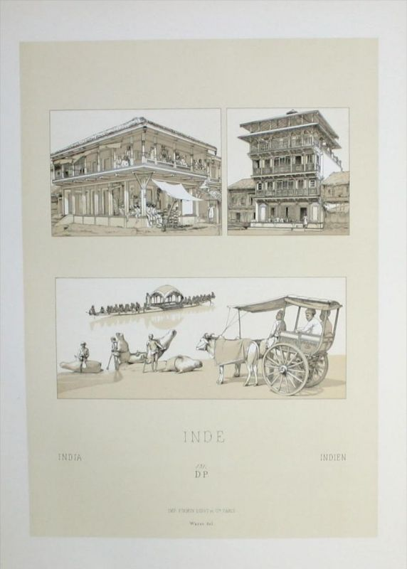 Haus Häuser house architecture Indien India Lithographie lithograph