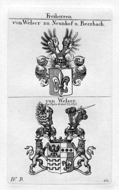 Welser - Wappen Adel coat of arms heraldry Heraldik Kupferstich