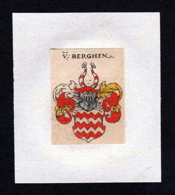17. Jh von Bergen Wappen coat of arms heraldry Heraldik Kupferstich