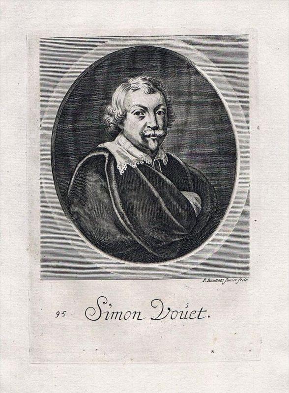 Simon Vouet painter Maler Barock Baroque Portrait Kupferstich