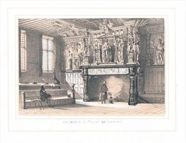 Bruges Brugge Cheminee du Franc Lithographie lithograph