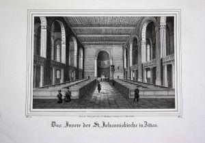 St. Johannis Kirche Innenansicht Zittau Görlitz Sachsen Lithographie