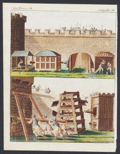 - siege tools Belagerung Werkzeuge engraving antique print Bertuch