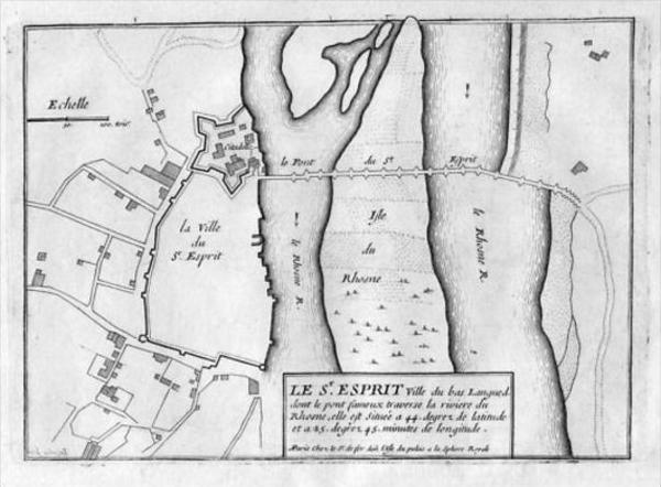 Pont-Saint-Esprit Gard Gravure Estampe Kupferstich engraving map carte