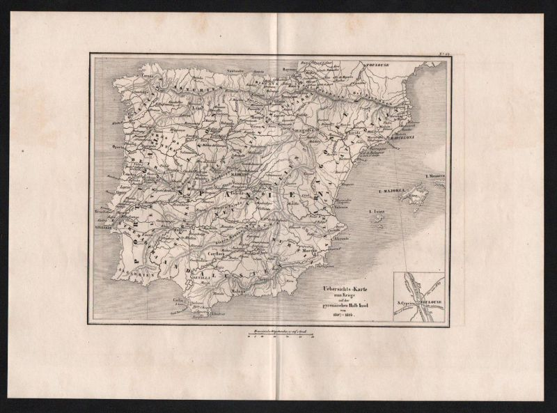 Spanien Portugal Spain Schlacht battle Karte map engraving Stahlstich