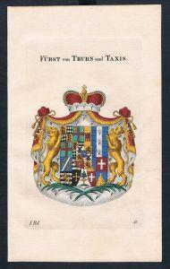 Fürst von Thurn und Taxis Kupferstich Genealogie Heraldik coat of arms