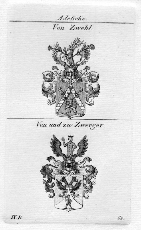 Zwehl / Zwerger - Wappen Adel coat of arms heraldry Heraldik Kupferstich
