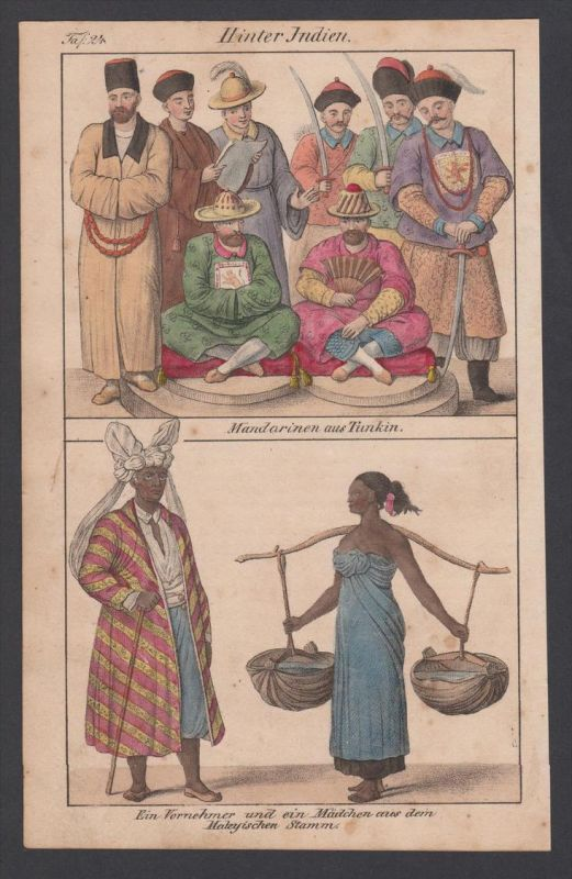 Indien India Mandarin Tunkin Trachten costumes Lithographie lithograph