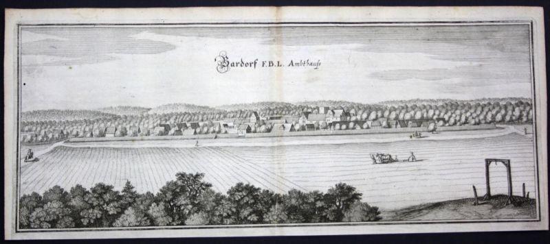 Bahrdorf / LK Helmstedt - Gesamtansicht - Kupferstich Merian