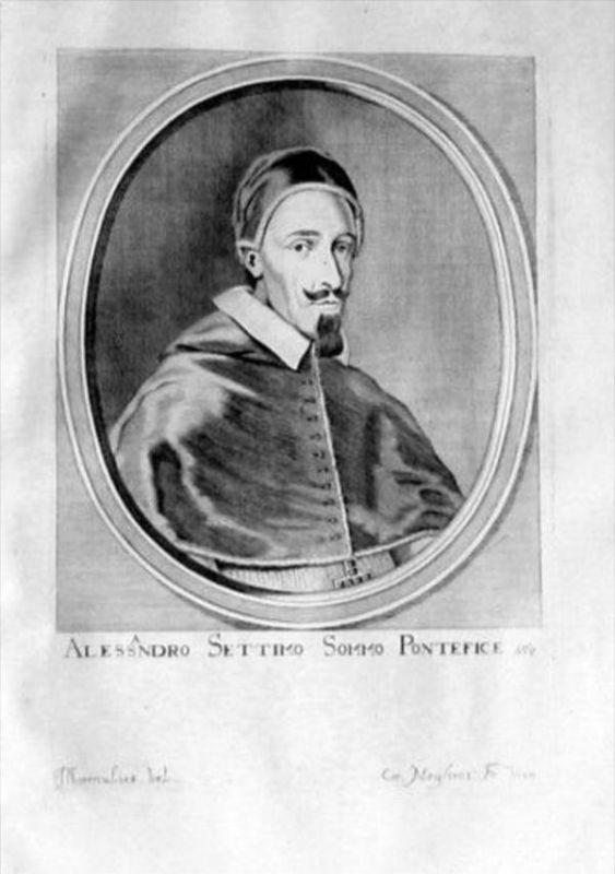 Alexander VII Papst Pope Papa Portrait Kupferstich engraving