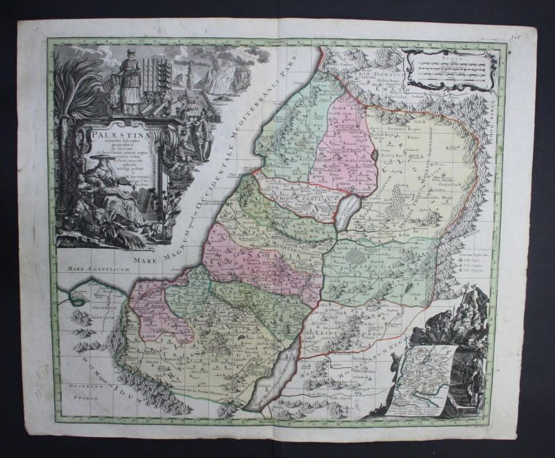 Israel Palestine Palästina map Karte Seutter Atlas engraving Kupferstich