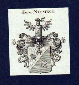 Herren von Niemeck Original Kupferstich Wappen engraving Heraldik crest
