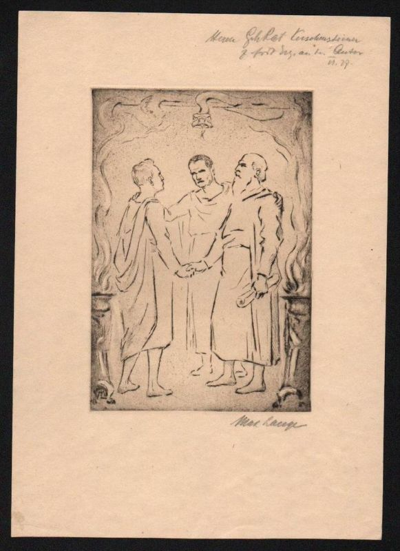 Max Lange - Original Radierung signiert München etching signed