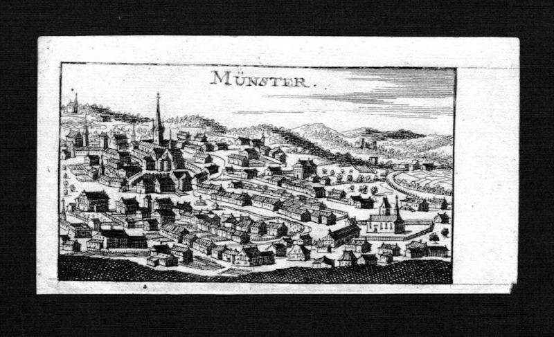 Münster Wallis Gesamtansicht Schweiz Suisse gravure Kupferstich Riegel