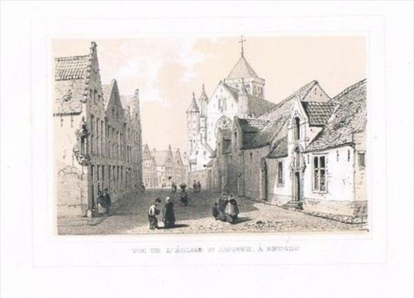 Brugge Bruges Eglise St Jacques Lithographie lithograph