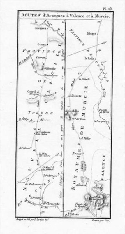 Aranjuez Valencia Murcia Espana map Kupferstich