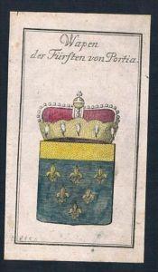 Fürst zu Portia Italia Wappen Kupferstich