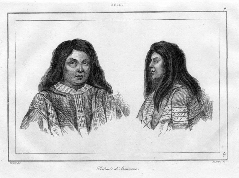 Chile Arancans Indianer indians America Südamerika engraving Stahlstich
