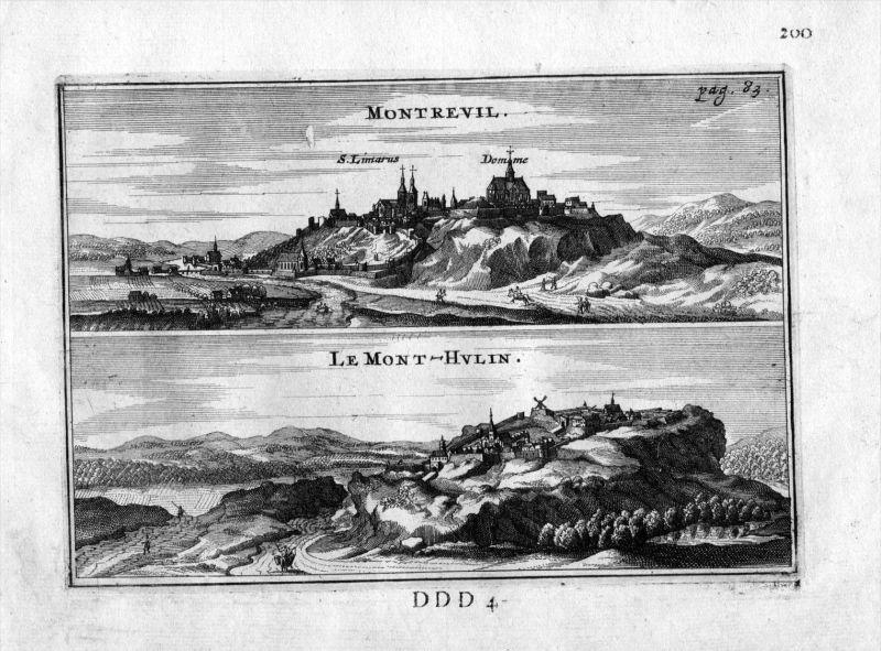 Montreuil Mont Hulin Pas-de-Calais Frankreich France gravure estampe Kupferstich