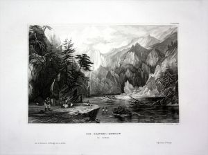 Ganges Quelle Fluss Indien India Asien Asia engraving Stahlstich