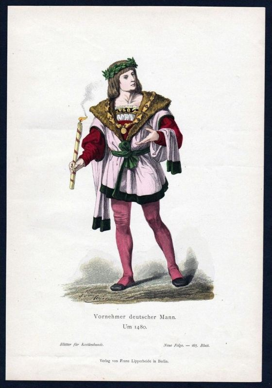 Deutschland vornehmer Mann 1480 Trachten Tracht costume original Grafik